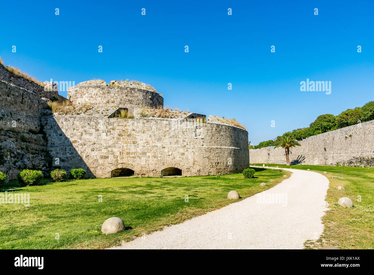Post of Italy (Del Carretto Bastion), one of the sections of the Rhodes old town walls, Rhodes island, Greece - Stock Image
