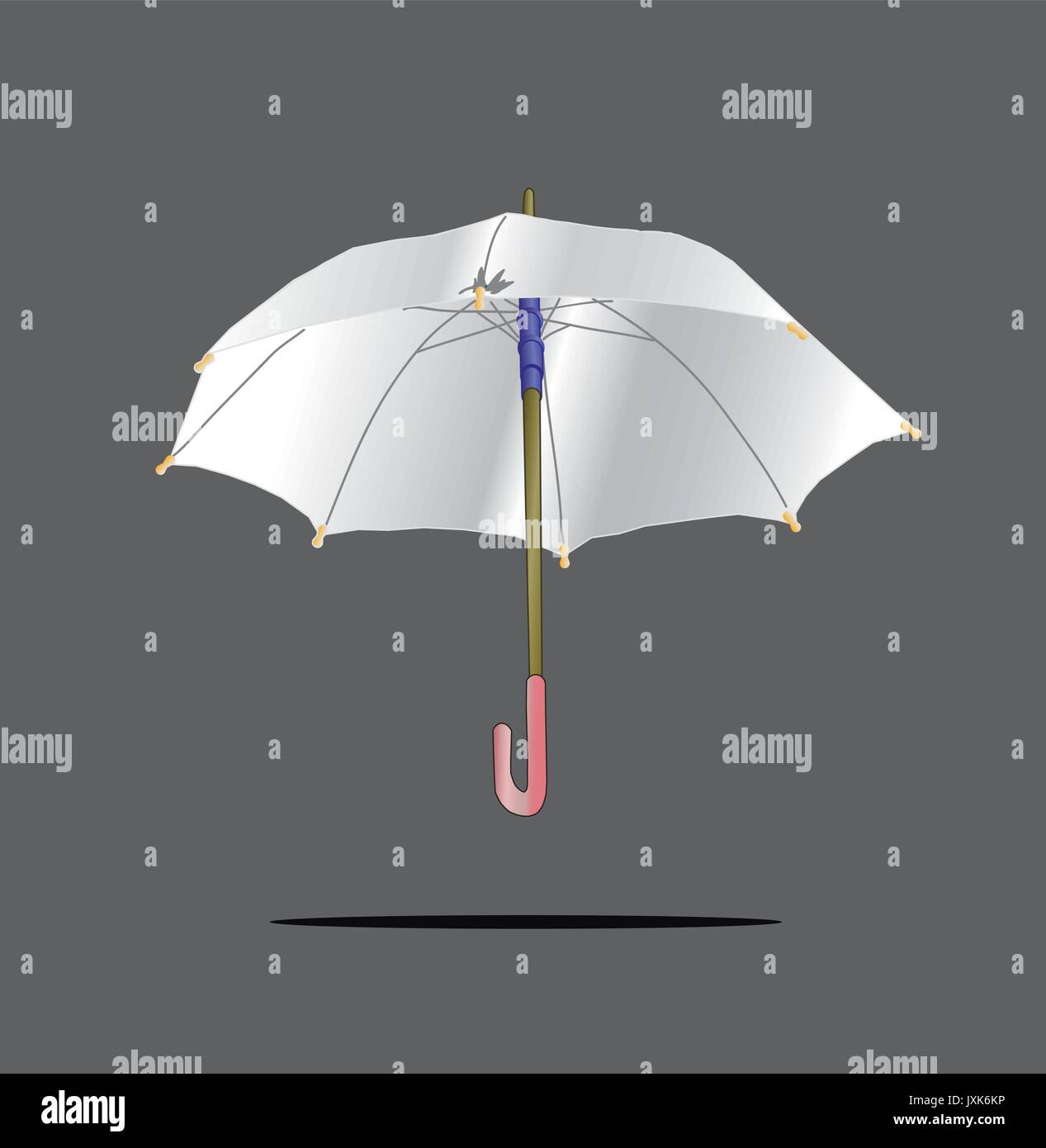 white open umbrella isolated on grey background - Stock Vector