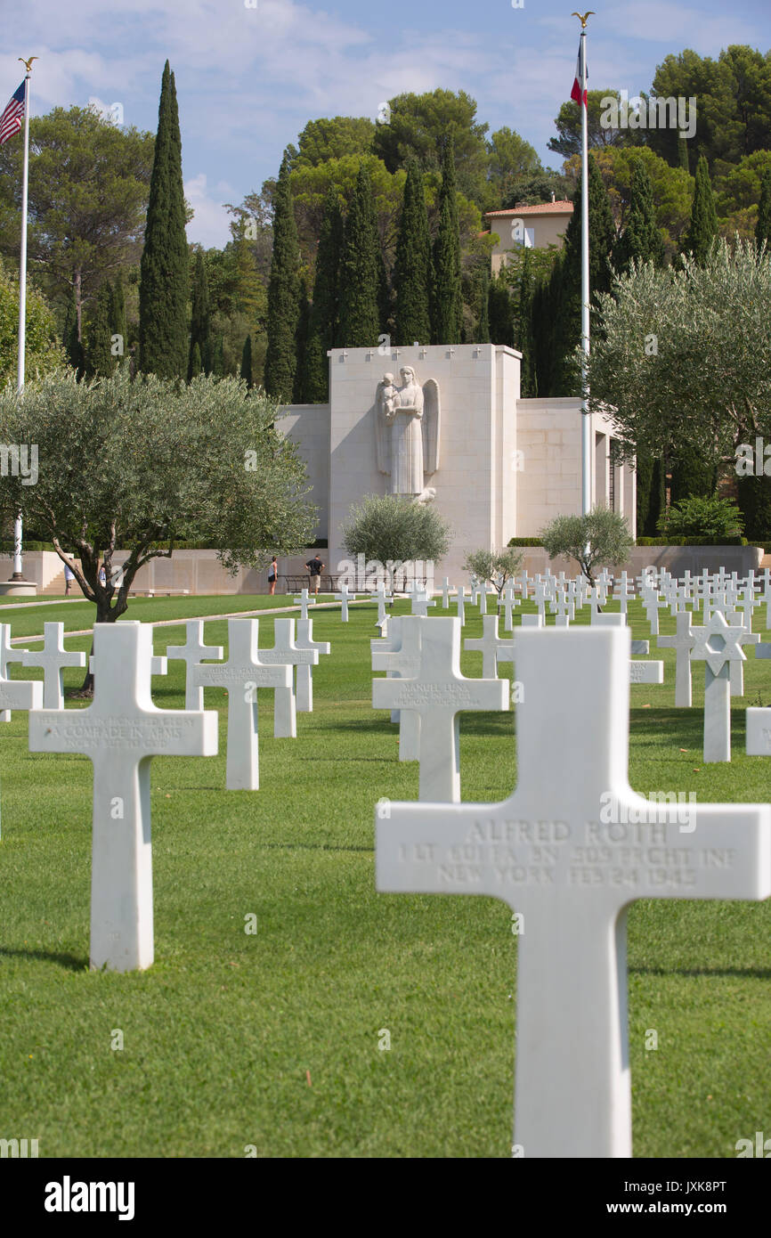 The Rhone American Cemetery and Memorial, American war cemetery in Southern France, memorializing American soldiers who died in WWII, Draguignan - Stock Image