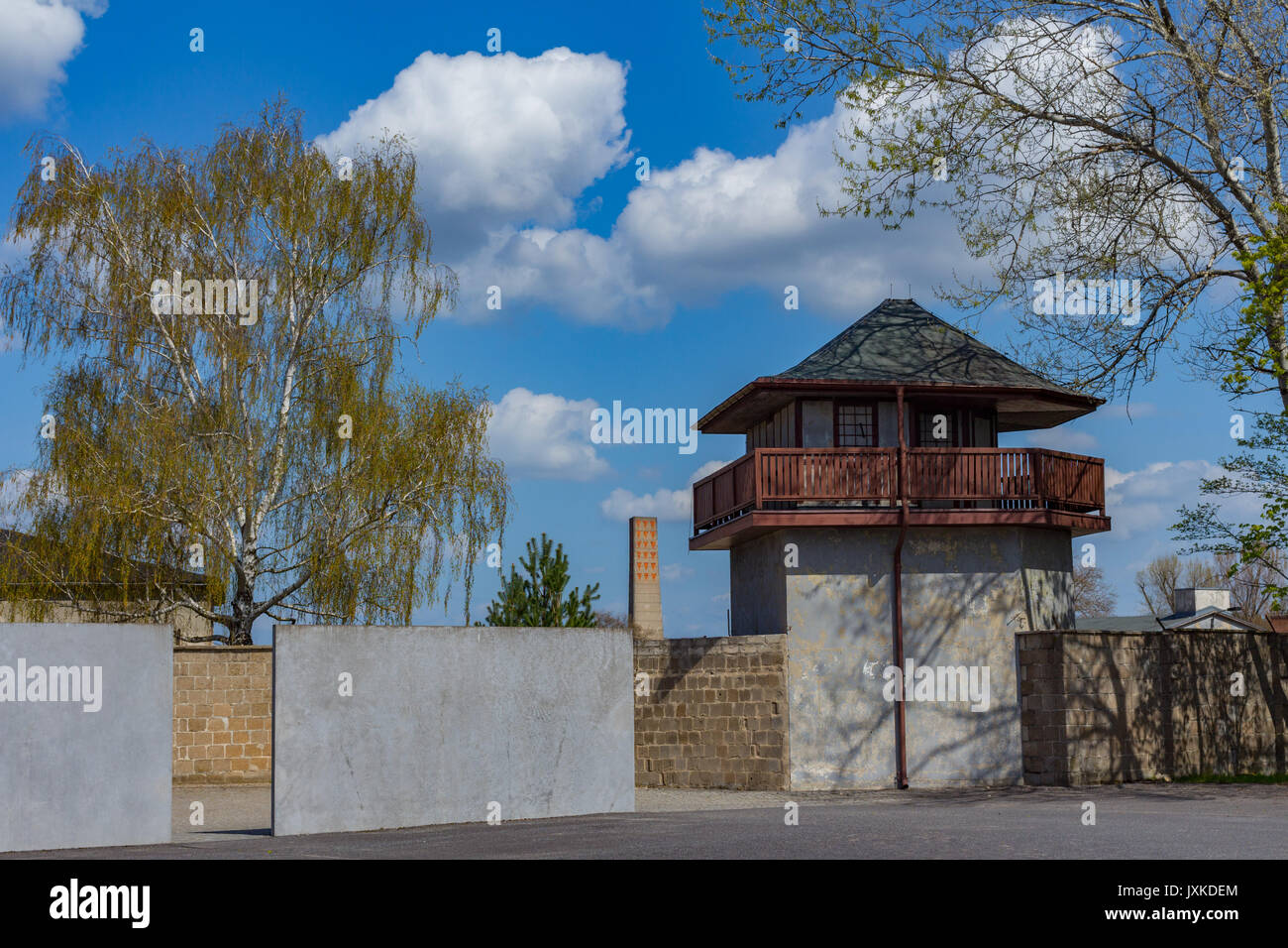 Perimeter and watchtower at the Sachsenhausen concentration camp memorial site - Stock Image
