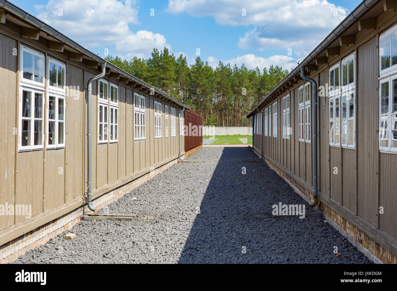 Barrack buildings at Sachsenhausen concentration camp memorial site - Stock Image