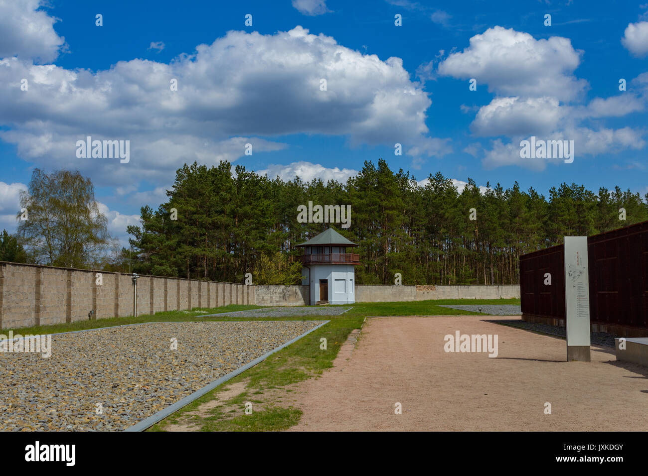 perimeter and watchtower at Sachsenhausen concentration camp memorial site - Stock Image