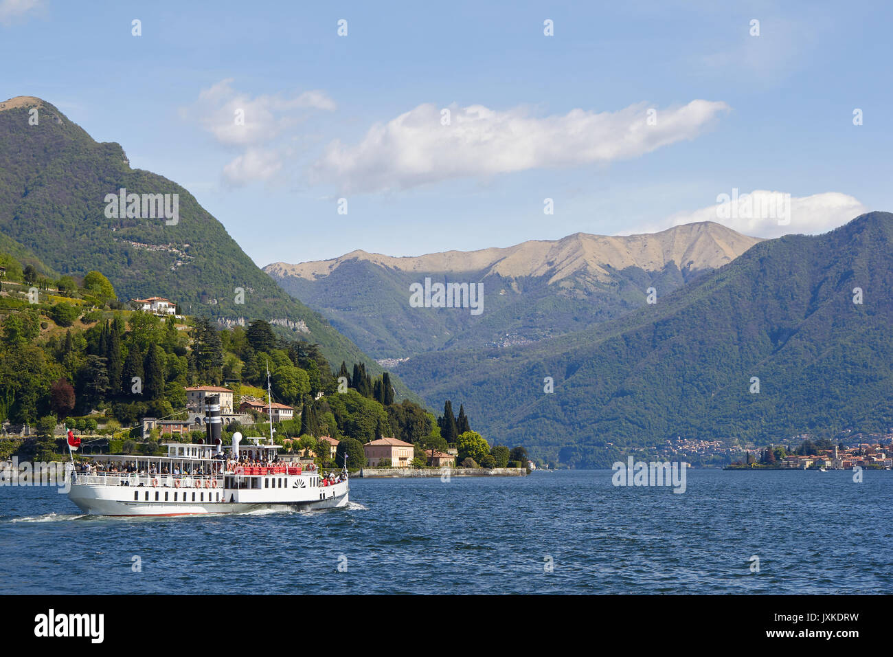 Ship leave from Cernobbio in the Como lake - Stock Image