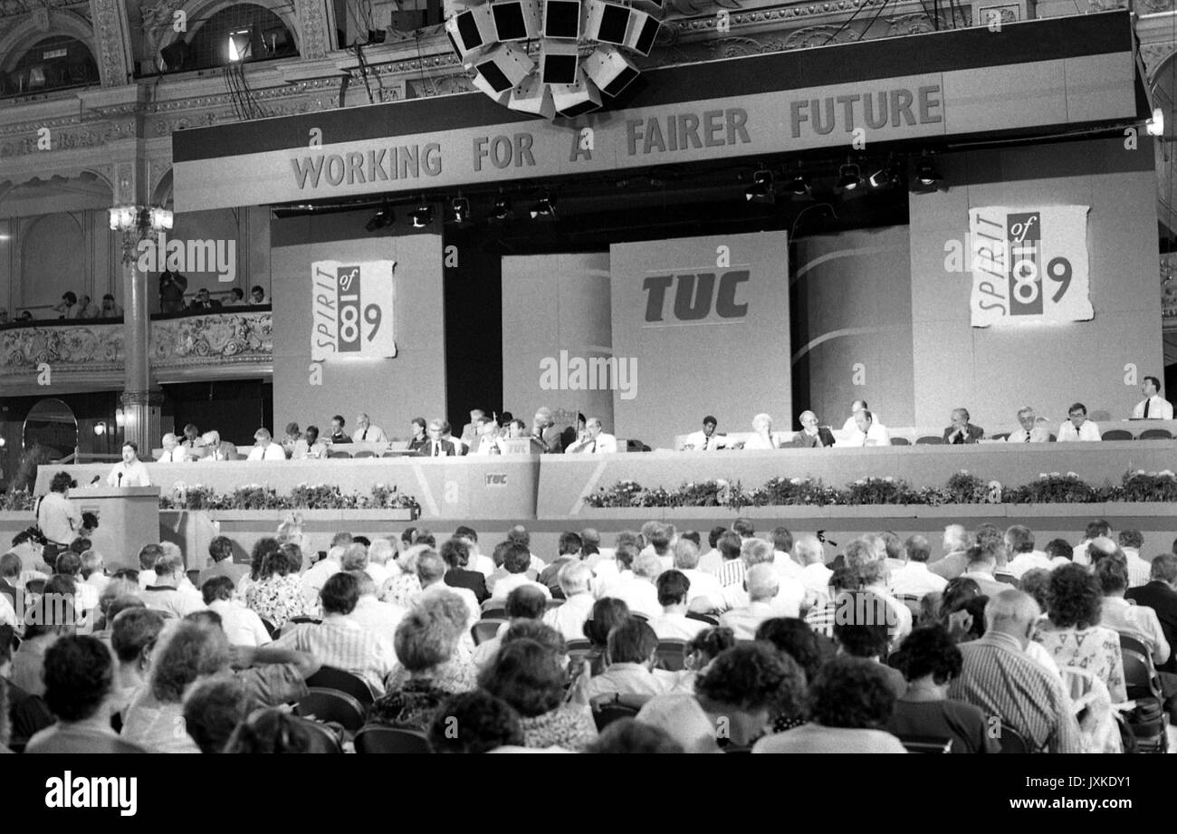 General view of the Trades Union Congress at Blackpool, England on September 4, 1989. - Stock Image
