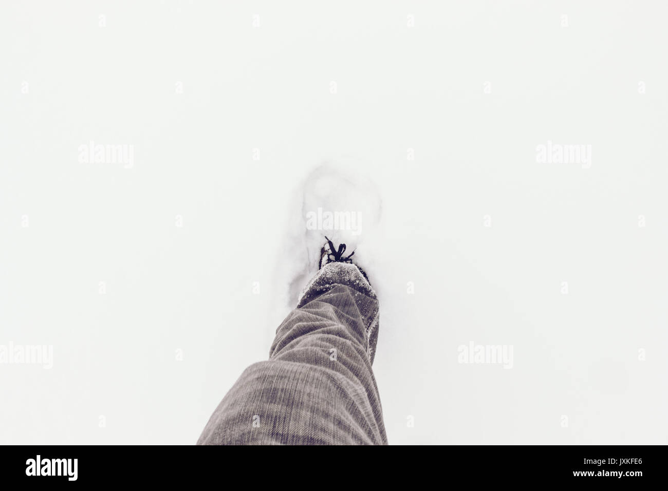 First Step In Fresh Snowfall - Stock Image