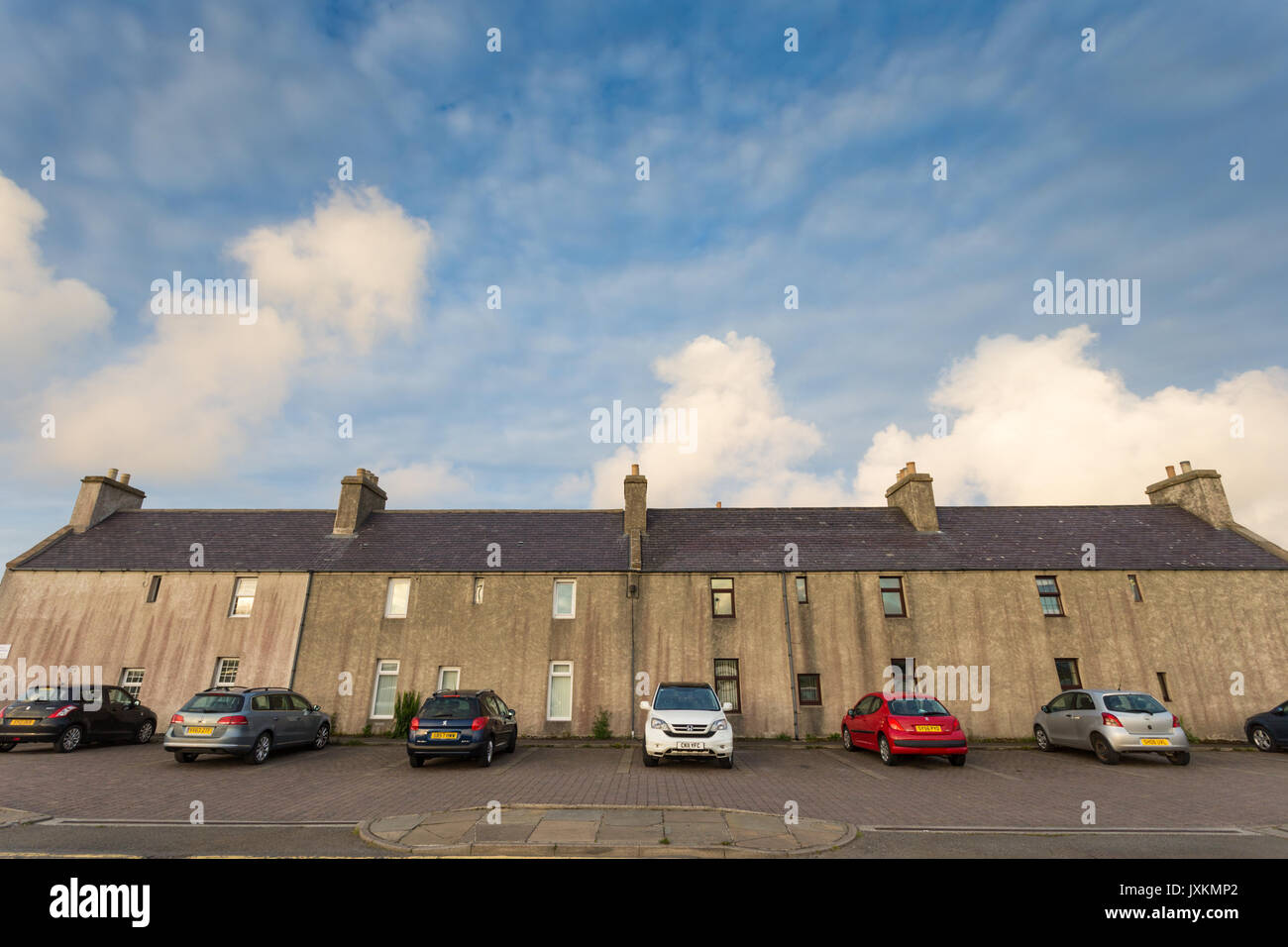 Rear of a rw of terraced houses, Kirkwall, Orkney UK Scotland - Stock Image