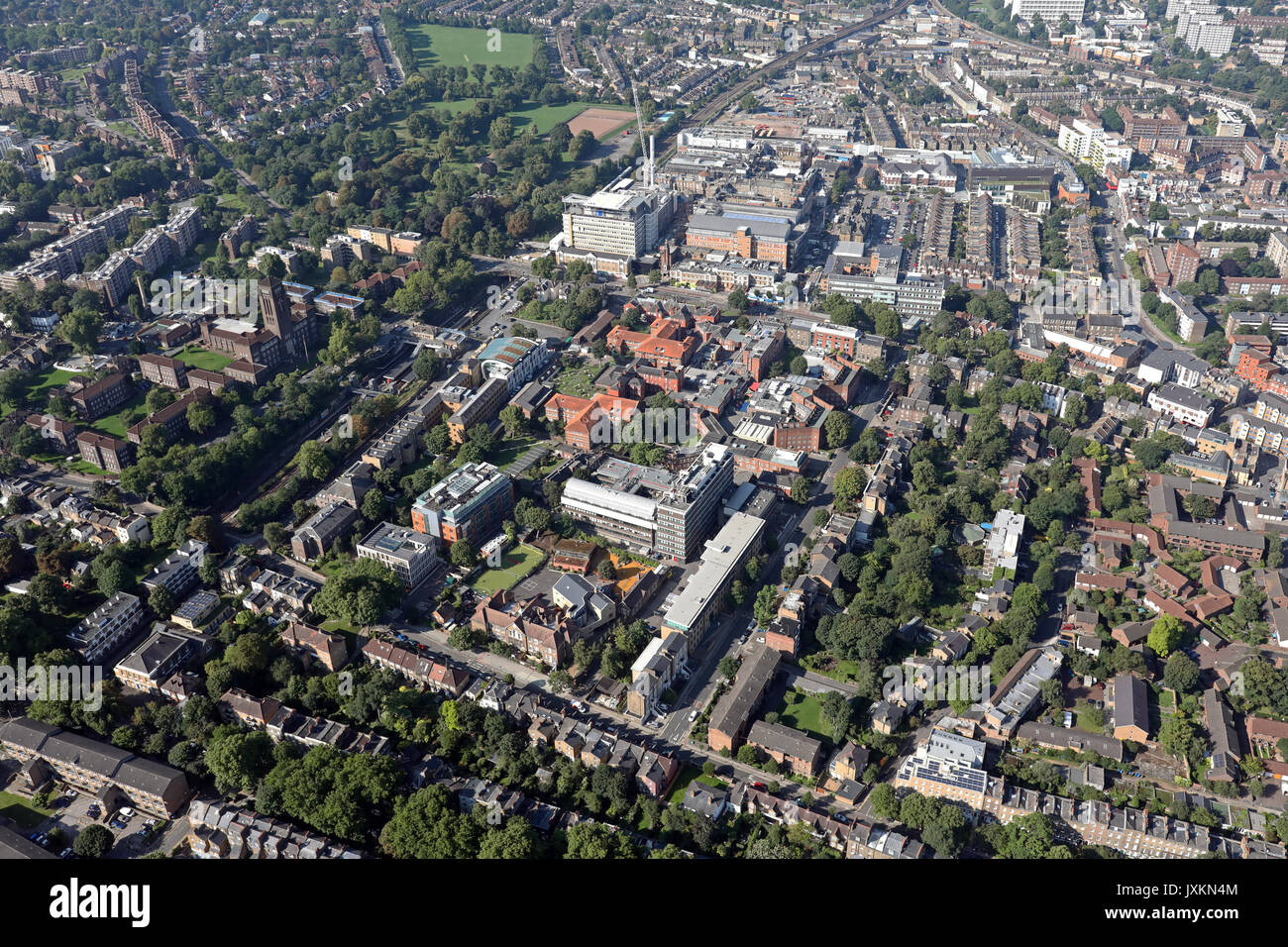 aerial view of  Kings College Hospital & University, London SE5 - Stock Image