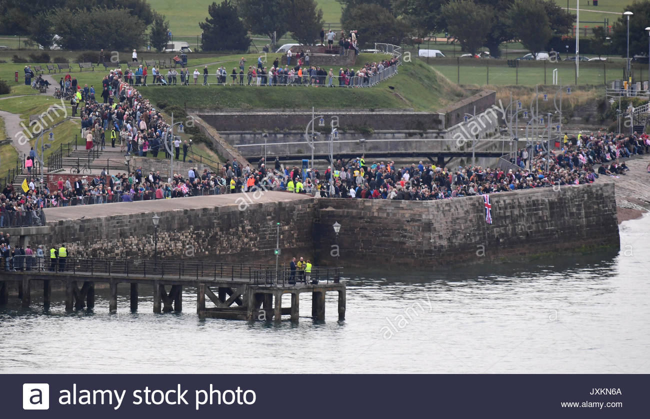 HMS Queen Elizabeth arrives at her home port of Portsmouth for the first time watched by tens of thousands of people. Stock Photo