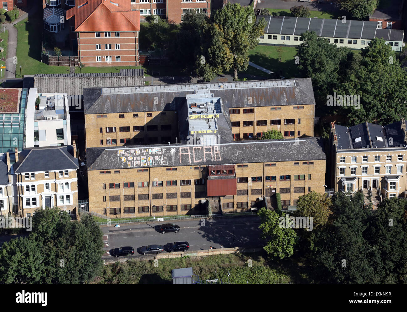 aerial view of a squatters H block in Windsor Walk, Kings College, London - Stock Image