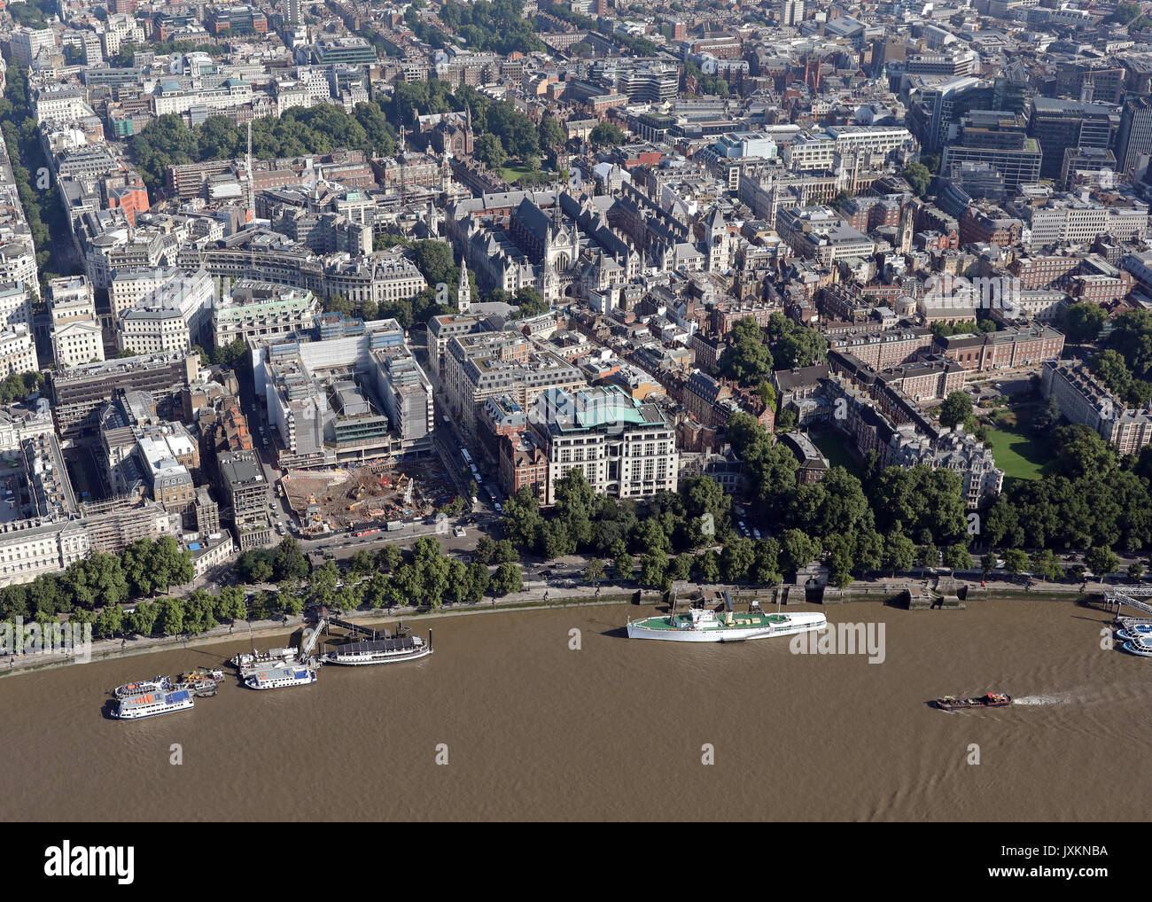 aerial view of the Victoria Embankment & Strand, London, UK - Stock Image