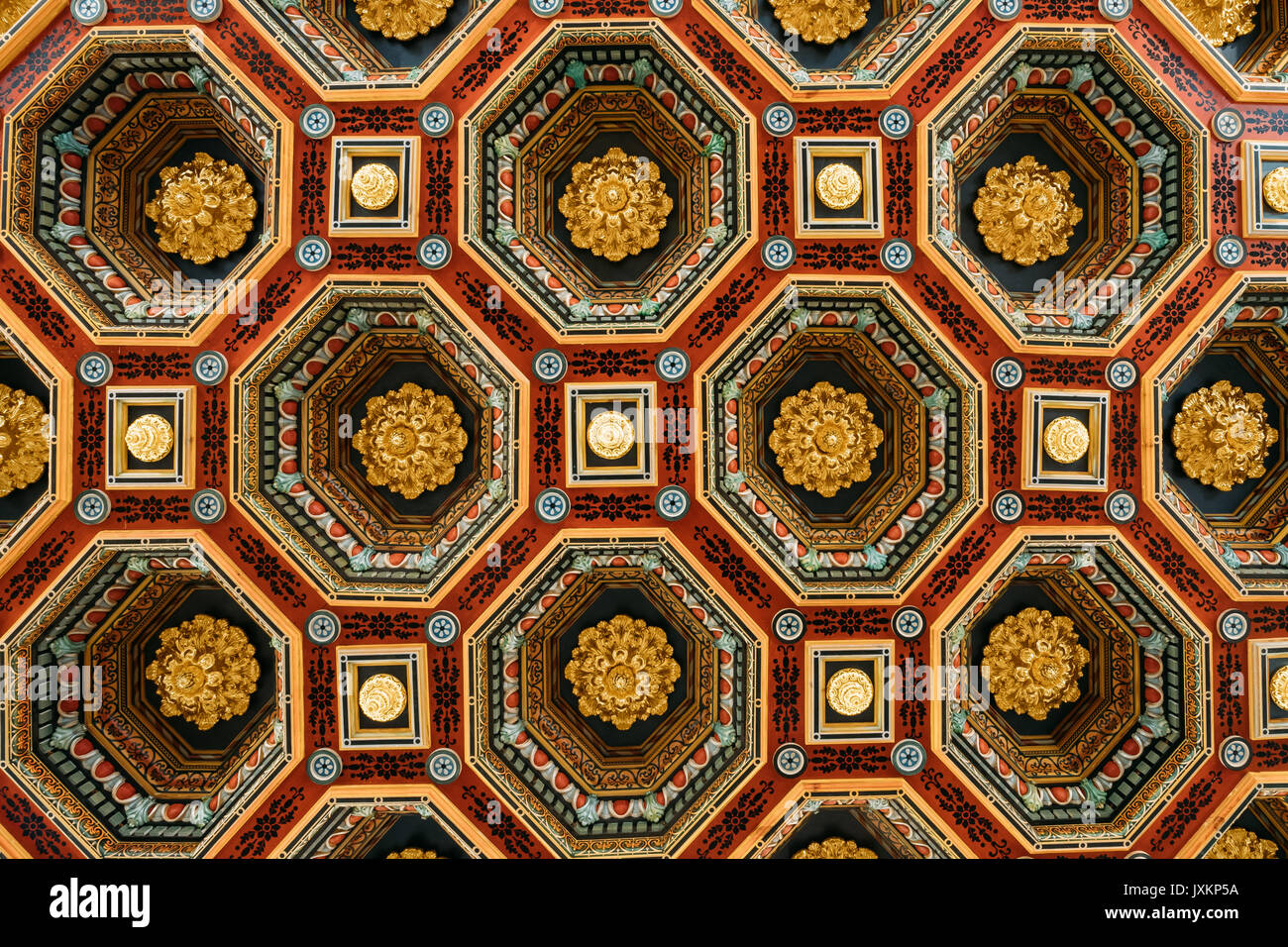 Mir, Belarus. Ceiling Roof In The Dining Room Izba In Castle Complex Museum. Famous Landmark, Architectural Ensemble Of Feudalism, Ancient Cultural Mo - Stock Image