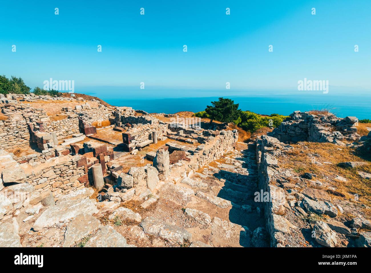 Ancient Thera historic site on Santorini Greece - Stock Image
