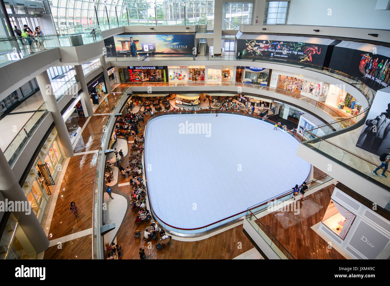 Singapore - Jul 3, 2015. Interior of the Shoppes at Marina Bay Sands in Singapore. Singapore has a highly developed and successful free-market economy - Stock Image