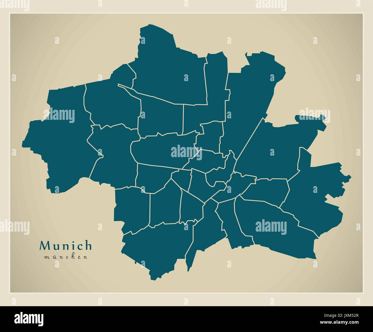 Modern City Map - Munich city of Germany with boroughs DE Stock ...