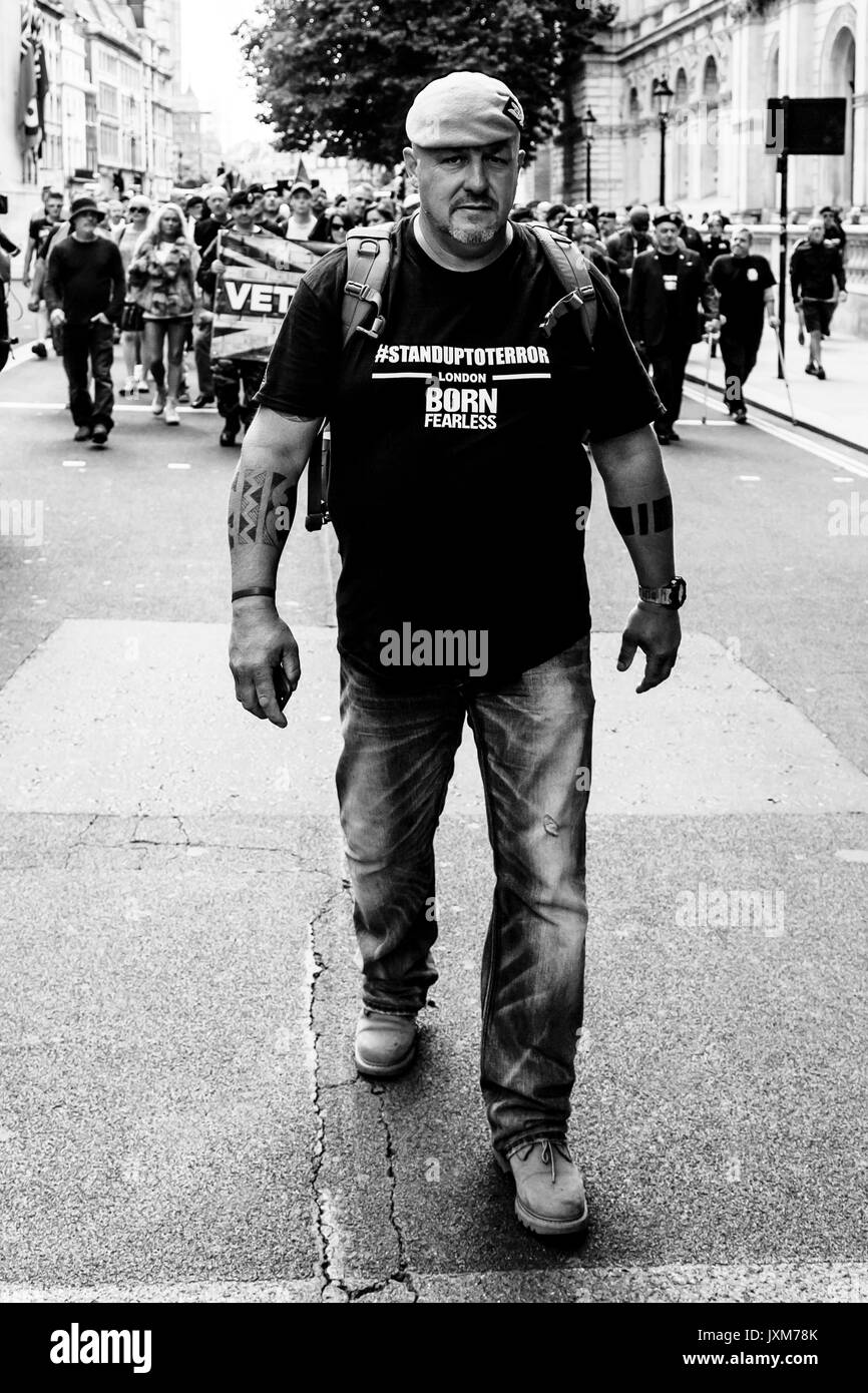 'Big Phil' Campion A Former British Army SAS Soldier Leads A Group Of Army Veterans To Downing Street To Demand That The Government Do More To Combat  - Stock Image