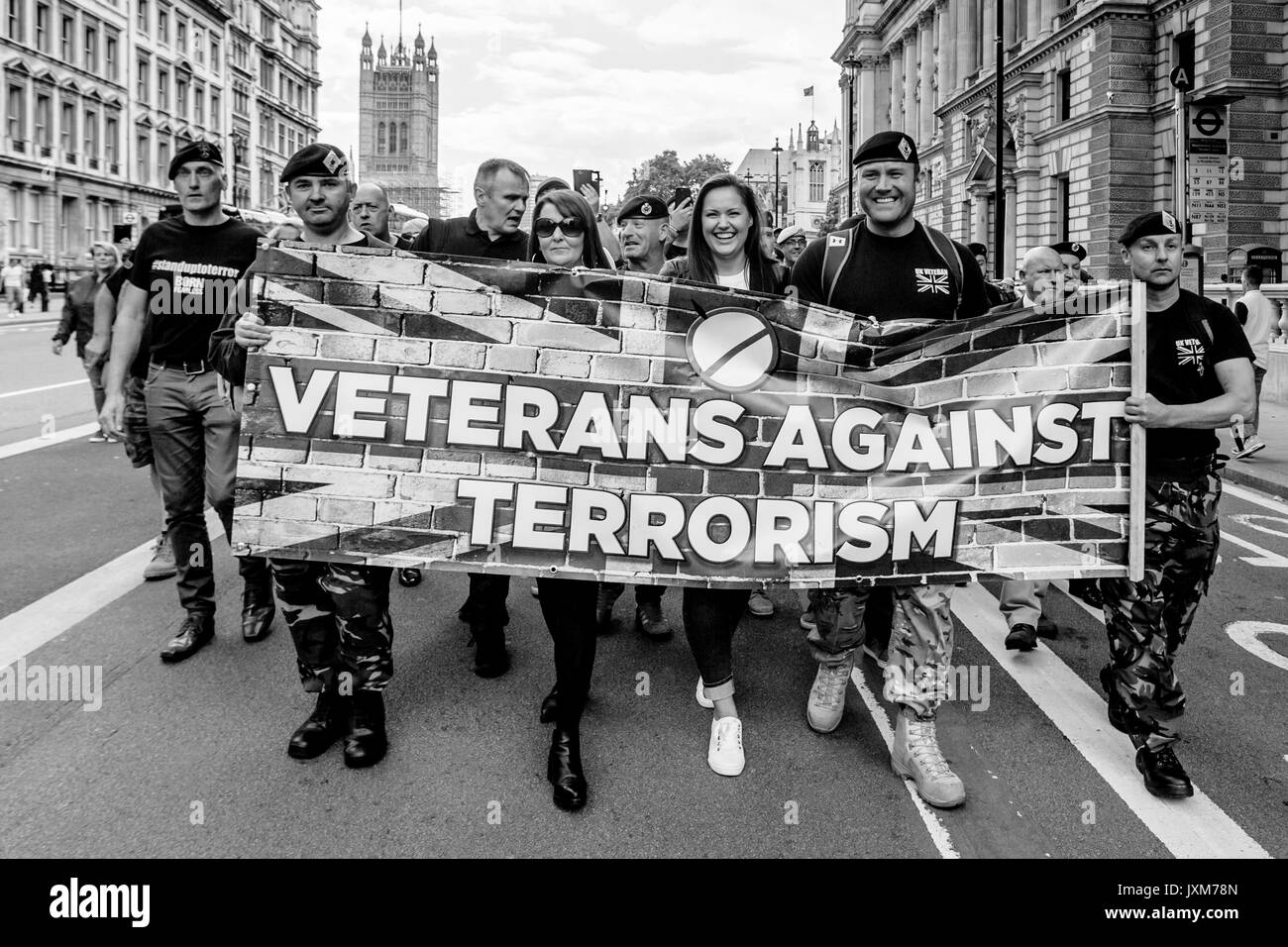 British Army Veterans March To Downing Street To Demand That The Government Does More To Combat Islamic Terrorism, Whitehall, London, UK - Stock Image