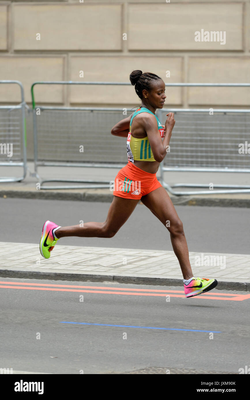 Mare Dibaba, Ethiopia, 2017 IAAF world championship women's marathon, London, United Kingdom - Stock Image