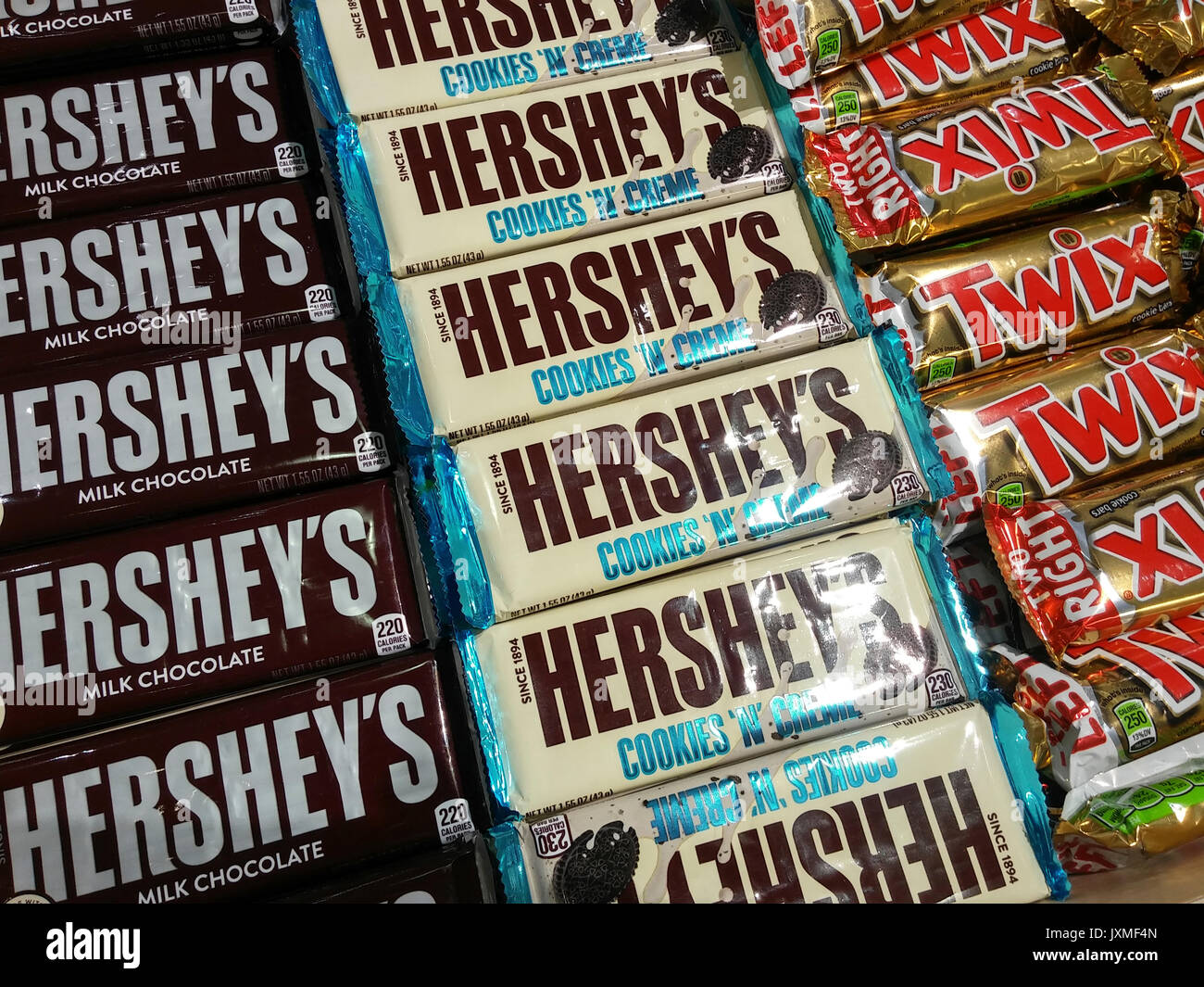The Hershey Co. candy in New York on Saturday, August 12, 2017. Hershey's licenses the production of KitKat in the U.S. from Nestlé. The Hershey Co. recently reported second-quarter profit and sales that pleased Wall Street but issued a warning that because of fewer shopping trips by consumers year-end profits may be down. (© Richard B. Levine) - Stock Image