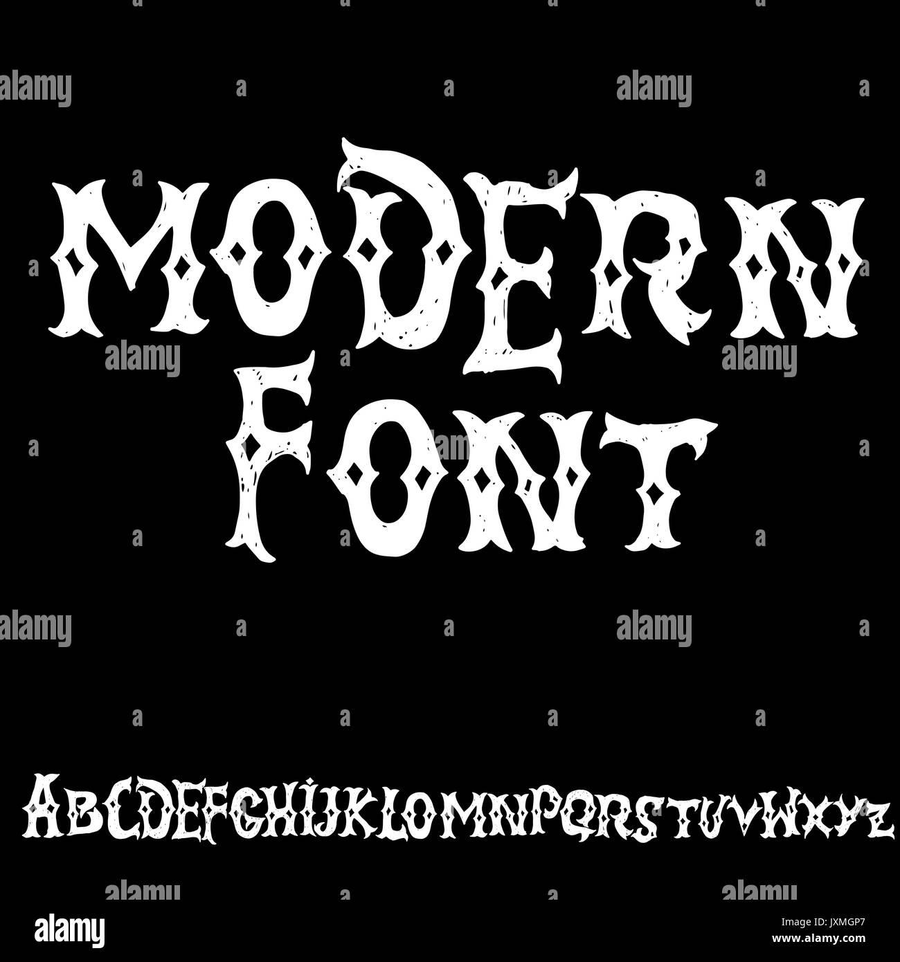 Antique Alphabet Gothic Letters Vintage Hand Drawn Font Western Vector Grunge Lettering