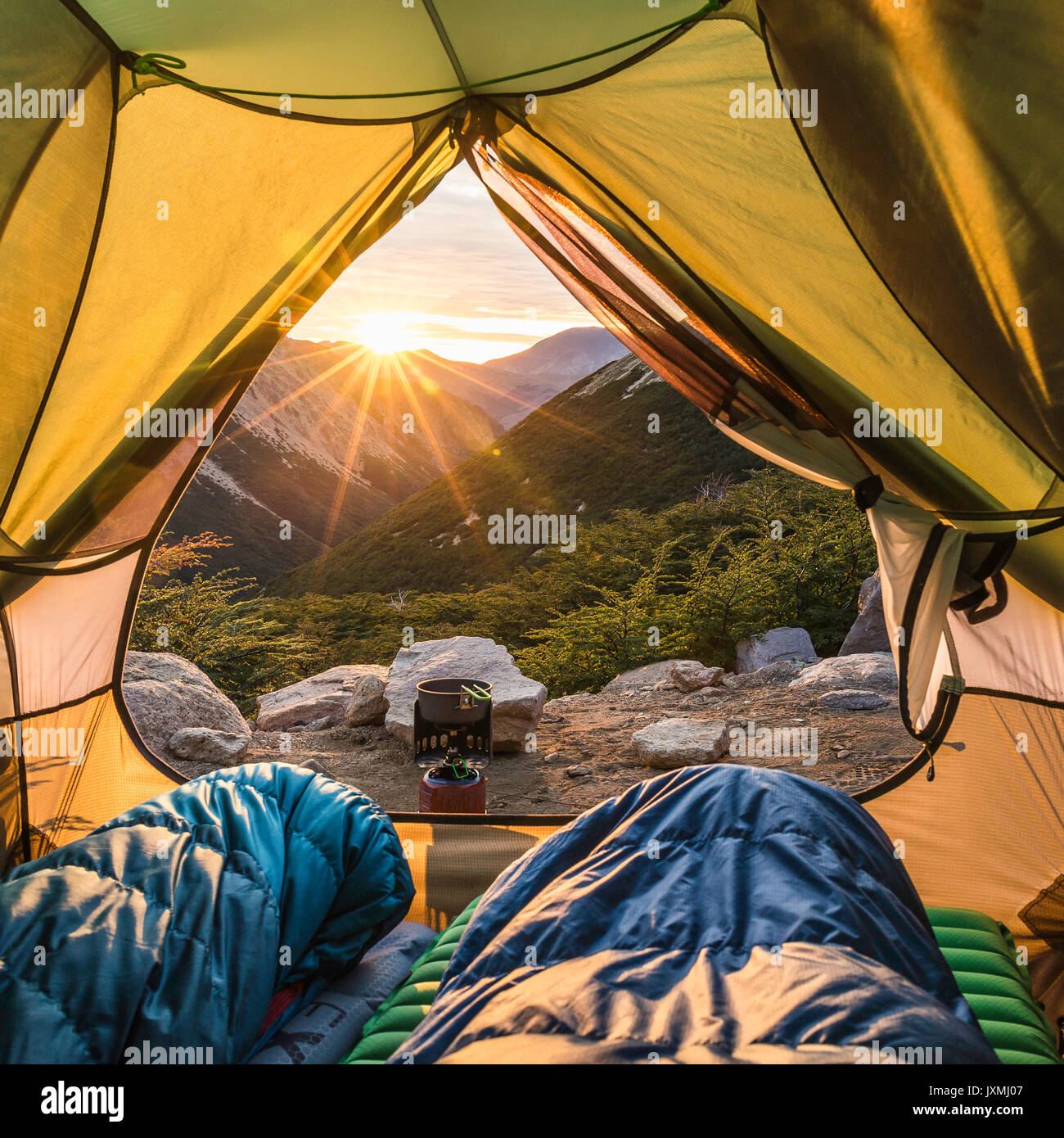 View from open tent at mountain sunrise, Nahuel Huapi National Park, Rio Negro, Argentina - Stock Image