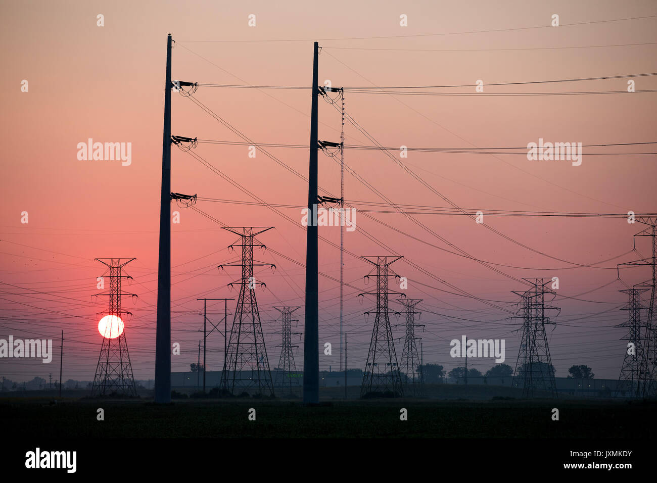 Electric power lines at sunrise - Stock Image