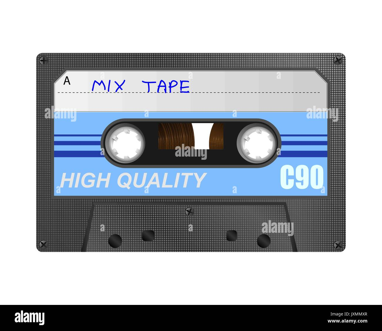 Detailed retro C90 audio cassette with mix tape hand written title - Stock Vector