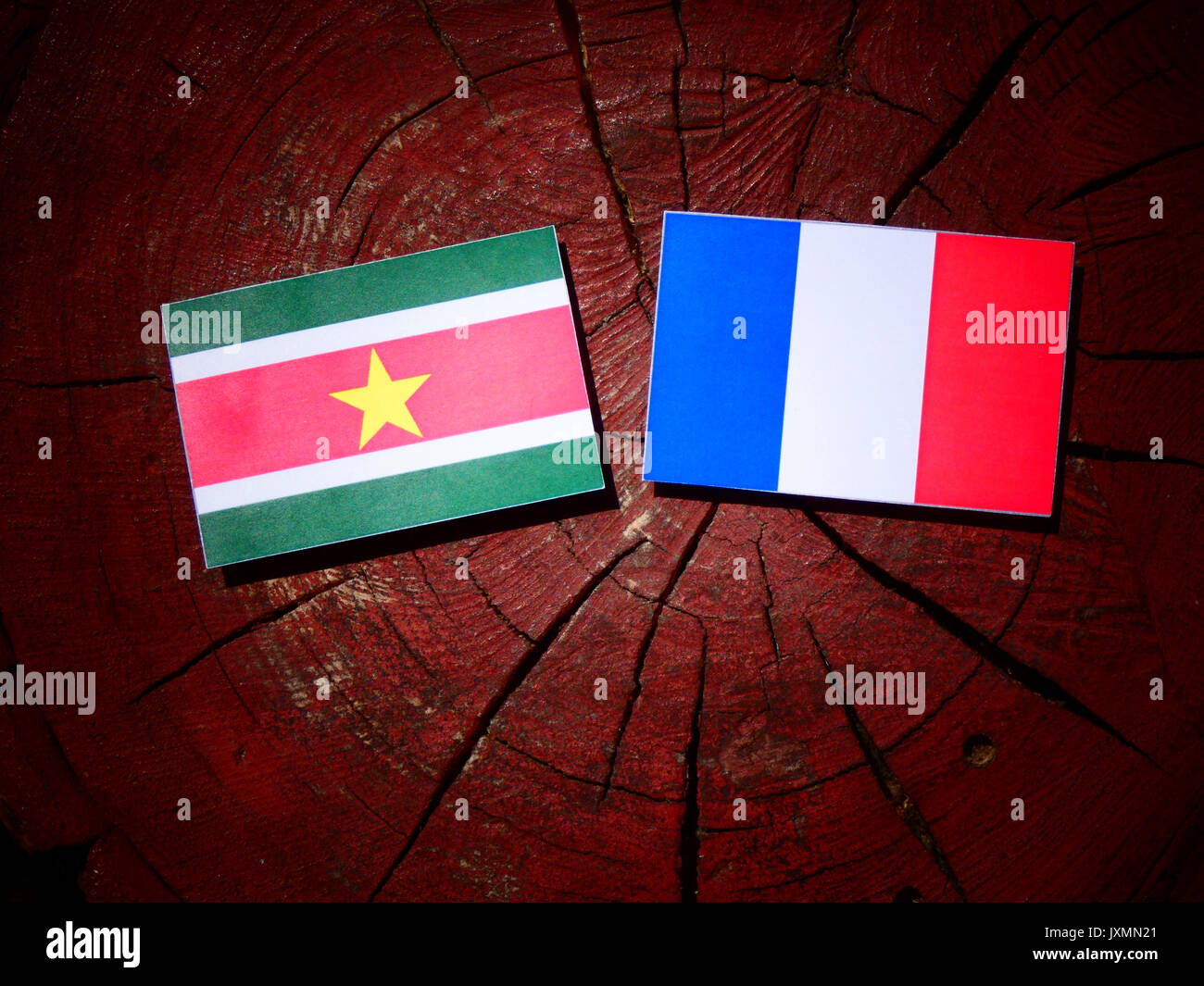Suriname flag with French flag on a tree stump isolated - Stock Image