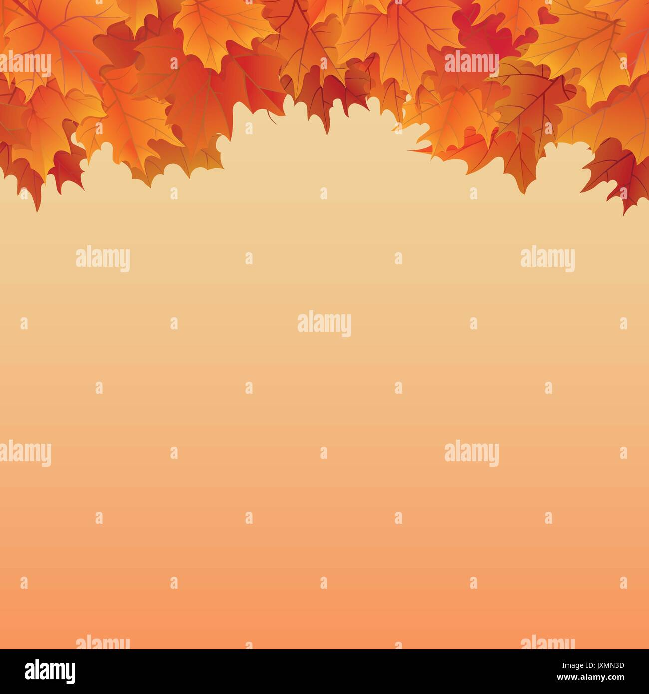 Fall leaves border on top of orange gradient background autumnal vector illustration - Stock Vector