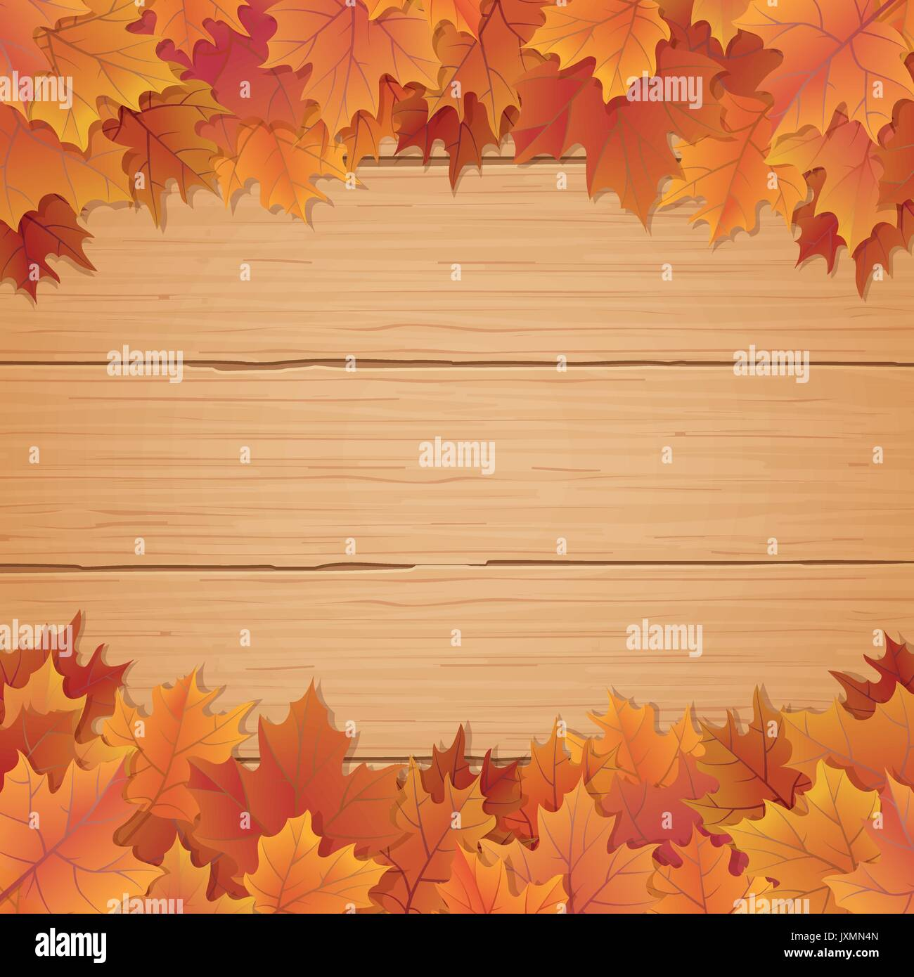 Fall leaves border on top and bottom with wooden background autumnal vector illustration - Stock Vector