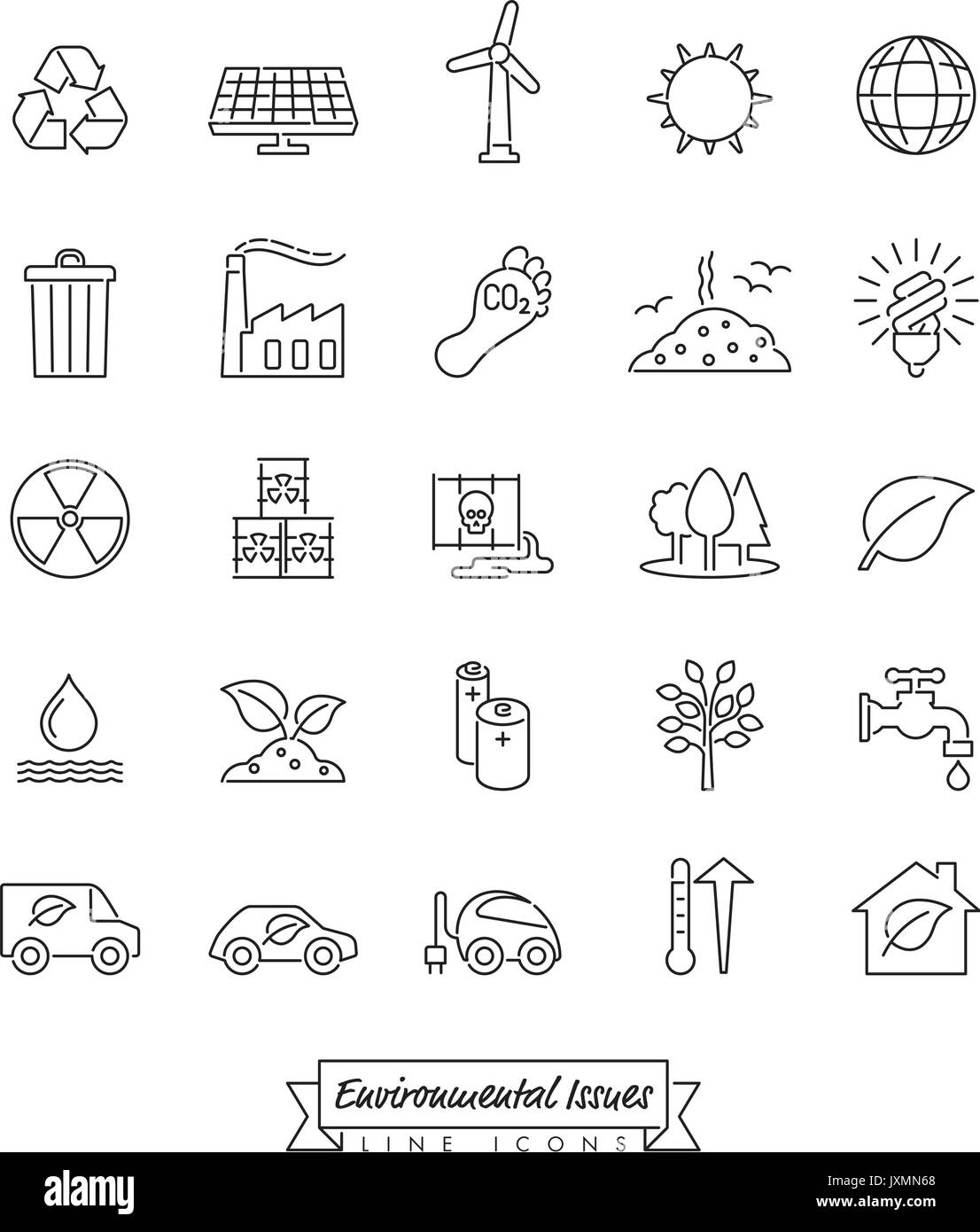 Collection of Environment and Climate related vector outlined icons - Stock Image