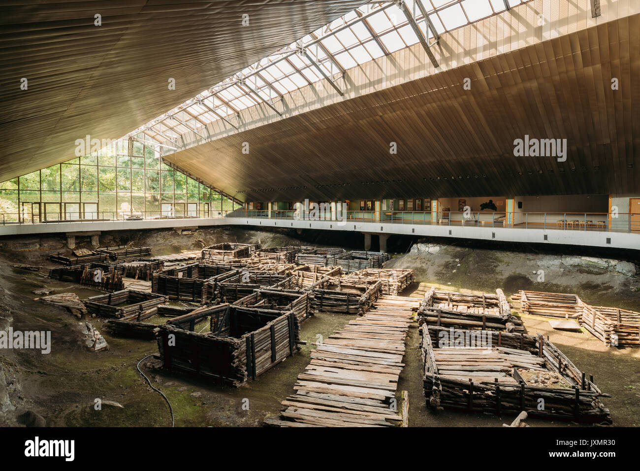 Brest, Belarus. Archaeological Monument Of Authentic East Slavic Wooden Town Of 13th Century In Berestye Archeological Museum. - Stock Image