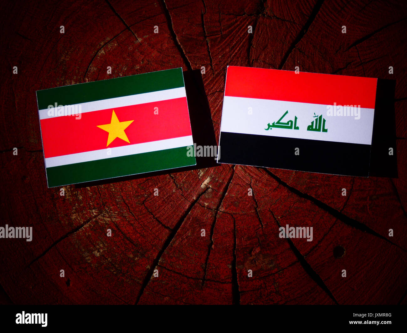 Suriname flag with Iraqi flag on a tree stump isolated - Stock Image