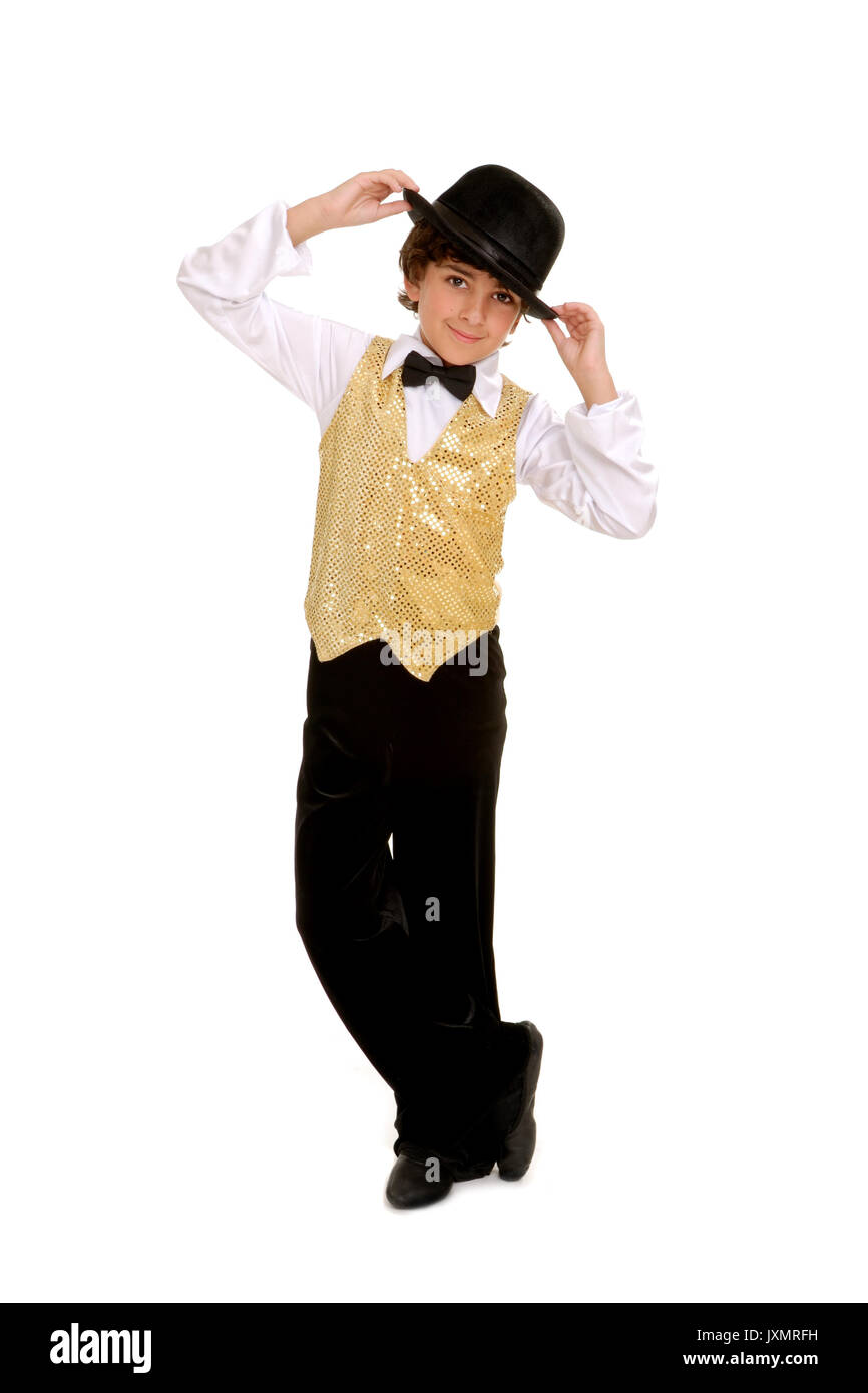 Smiling Boy Dancer in Top Hat and Costume - Stock Image
