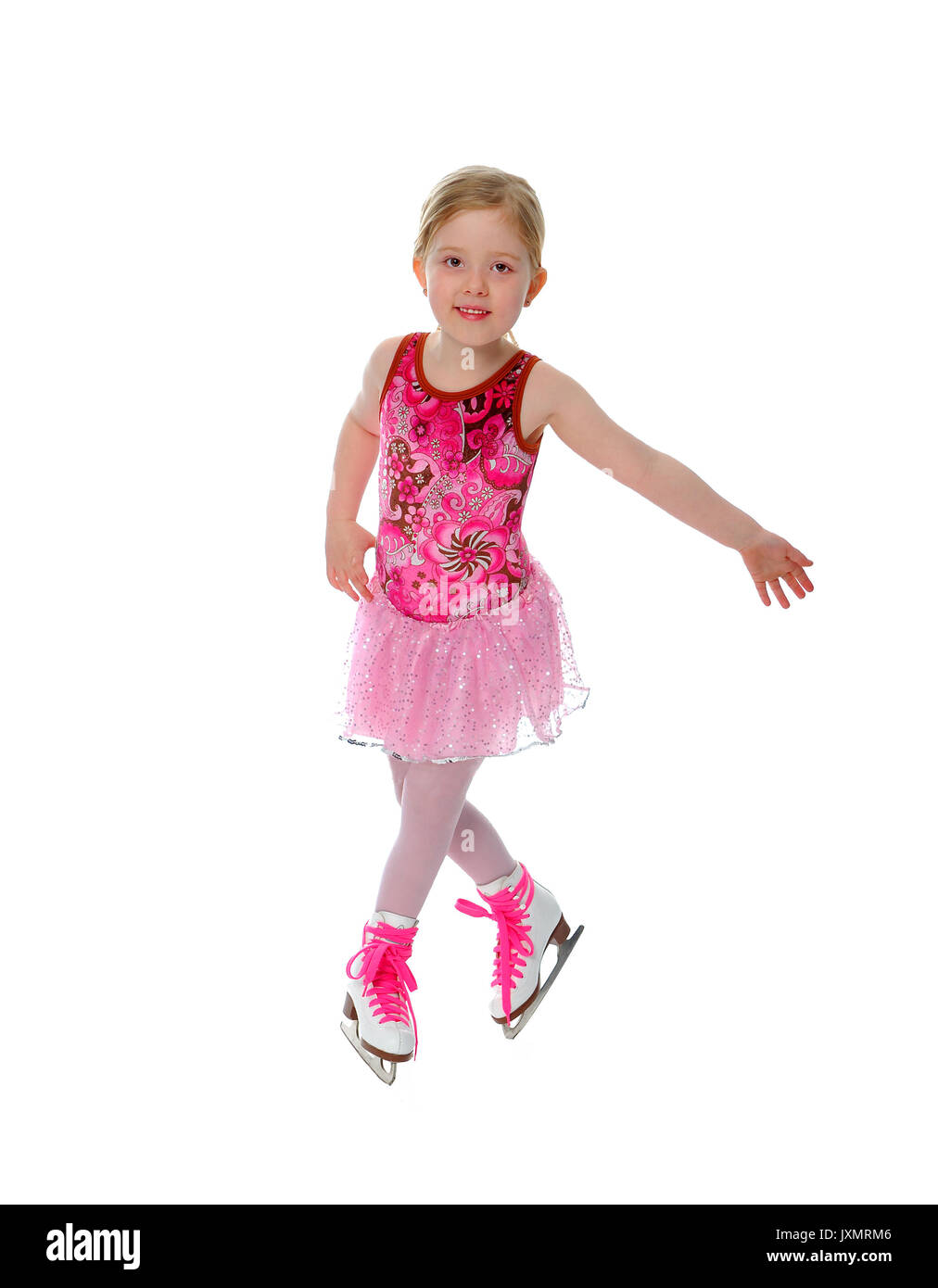Six year old figure skater or ice dancer active in a winter sport - Stock Image