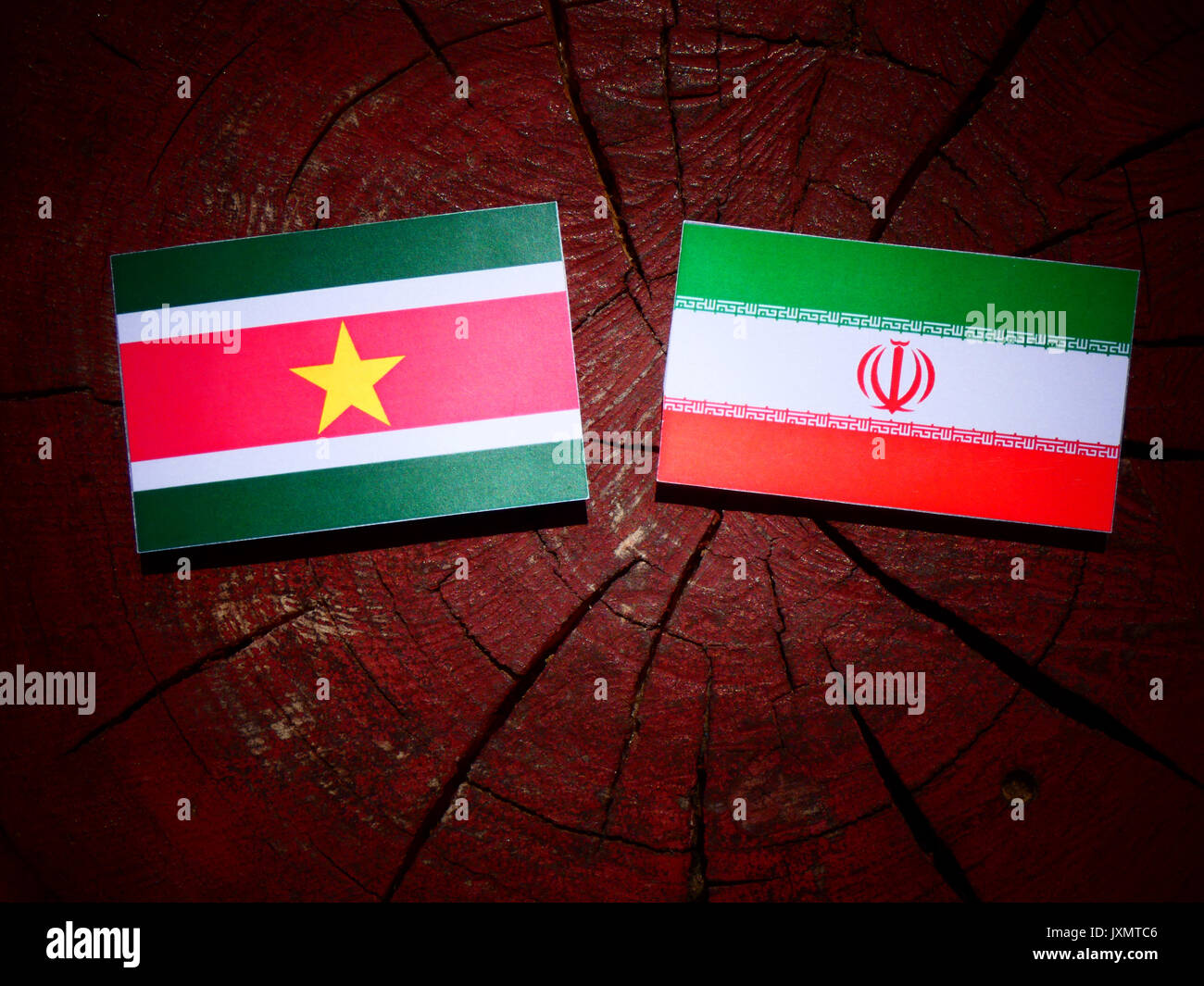 Suriname flag with Iranian flag on a tree stump isolated - Stock Image