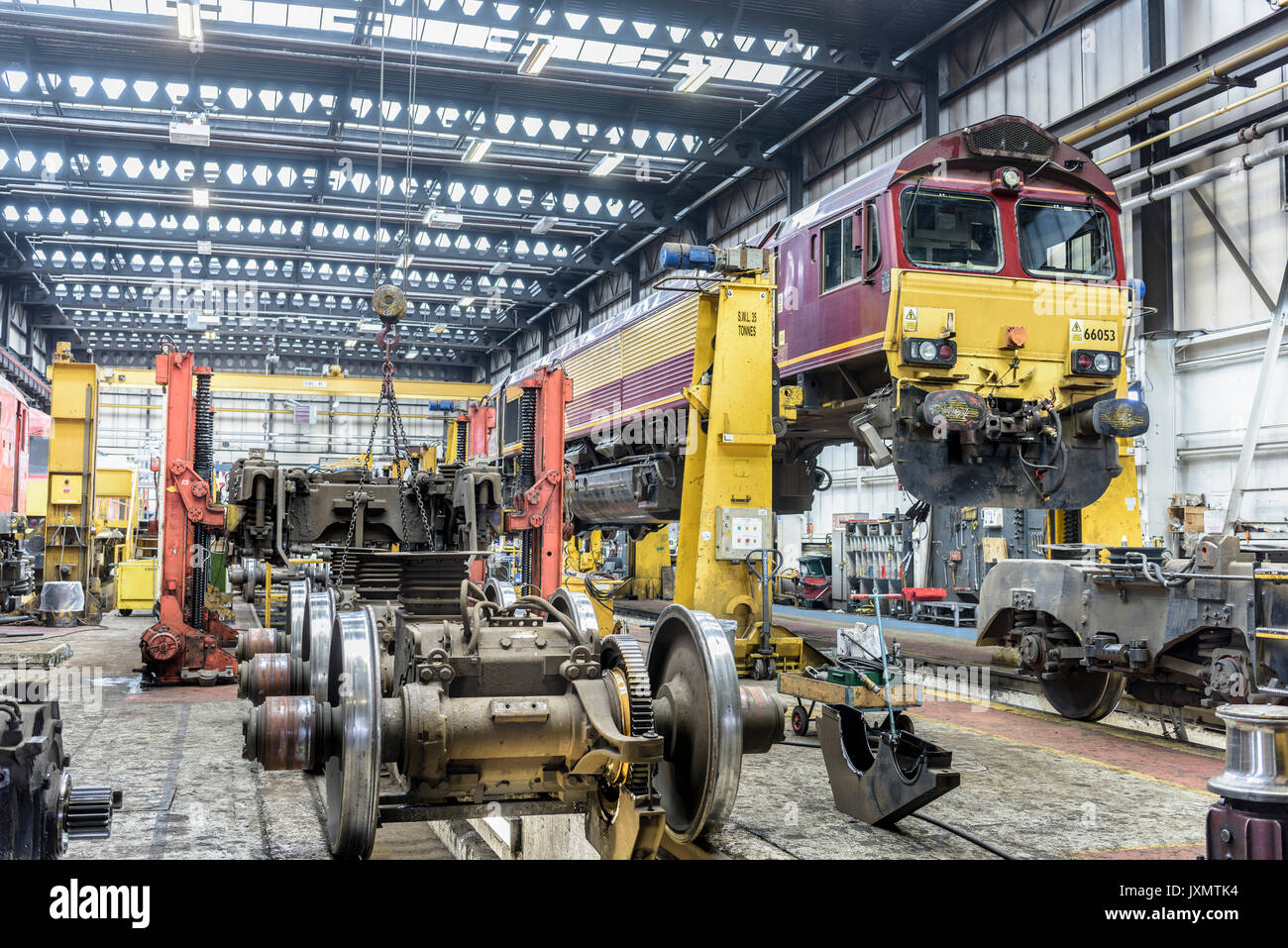 Locomotives in train works - Stock Image