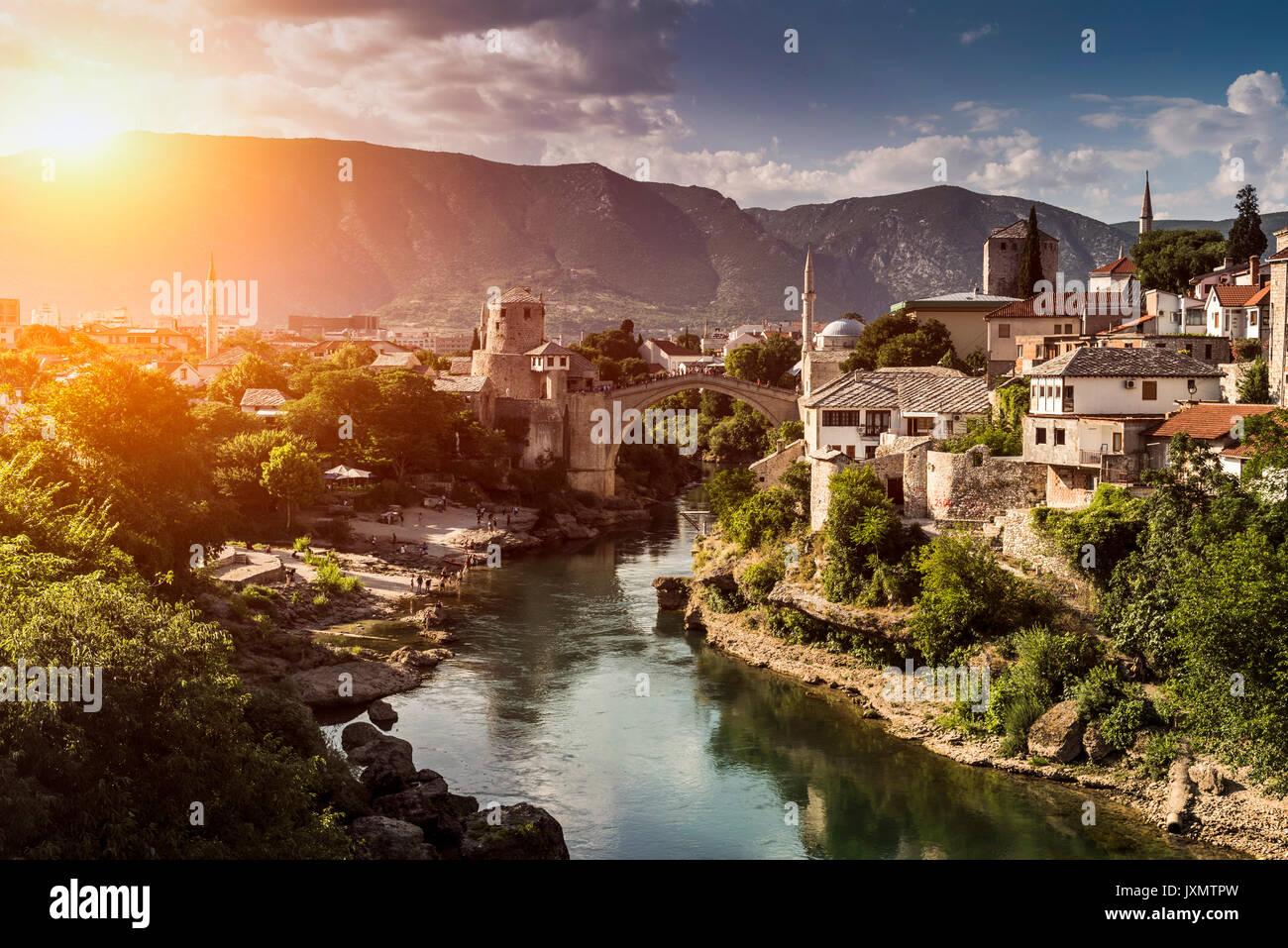 Stari Most, Mostar, Federation of Bosnia and Herzegovina, Bosnia and Herzegovina, Europe - Stock Image