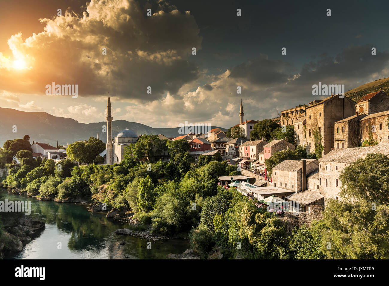 Scenic view, Mostar, Federation of Bosnia and Herzegovina, Bosnia and Herzegovina, Europe - Stock Image