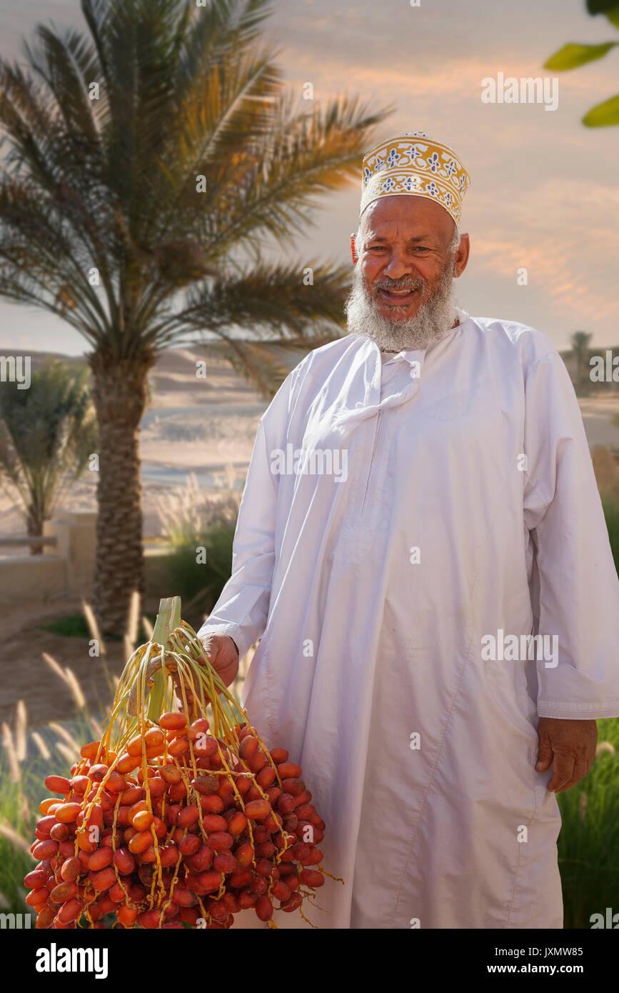 Portrait of local man, Abat, Ash Sharqiyah, Oman, Asia - Stock Image