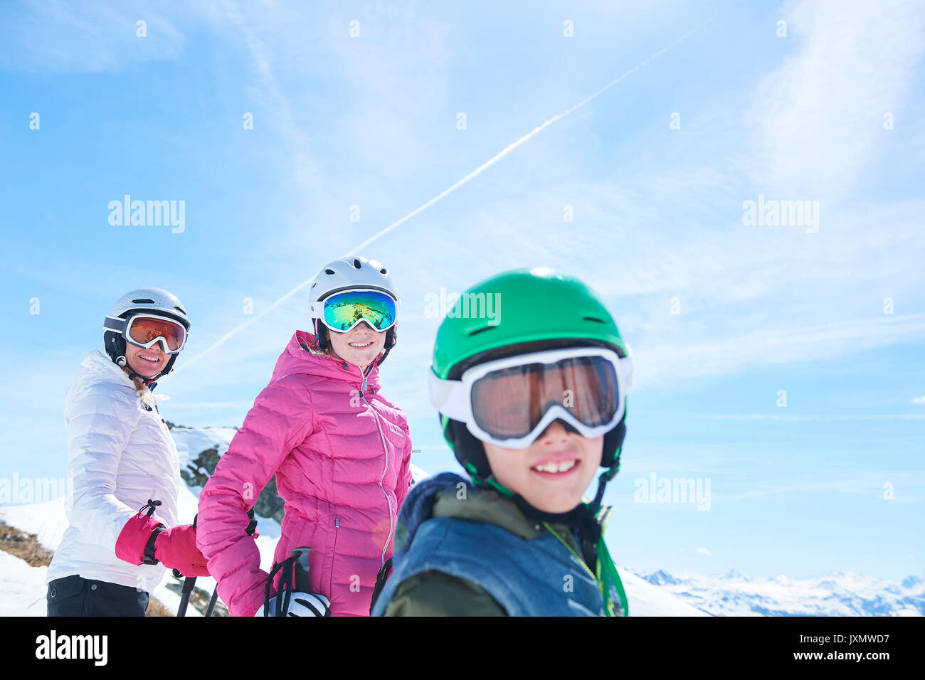 Mother, daughter and son on skiing holiday, Hintertux, Tirol, Austria - Stock Image