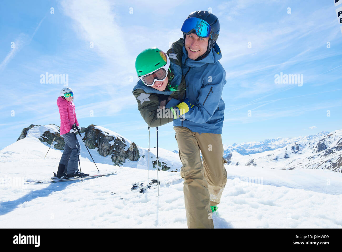 Father and son playing, Hintertux, Tirol, Austria - Stock Image