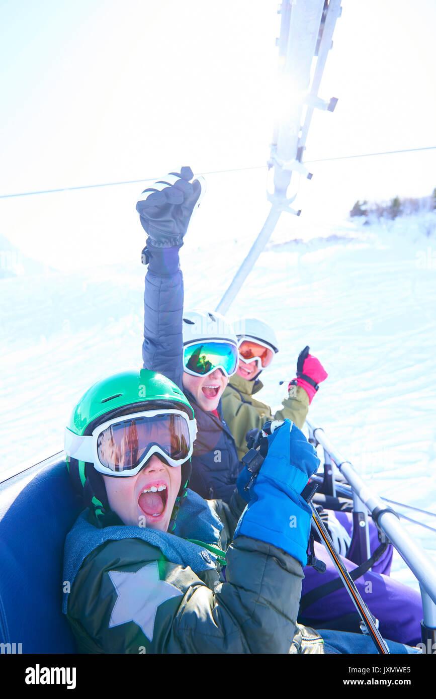 Family on skiing holiday, Hintertux, Tirol, Austria - Stock Image