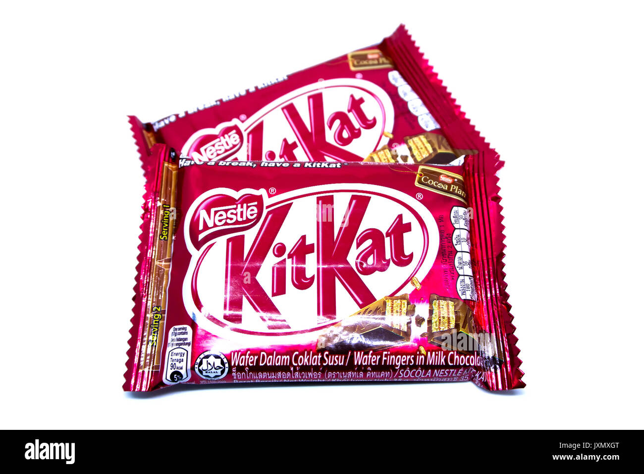 Kota Kinabalu, Malaysia - August 16, 2017: Kit Kat Chocolate Milk Wafer isolated on white background. Kit Kat bars are produced by Nestle. Brand Kit K - Stock Image