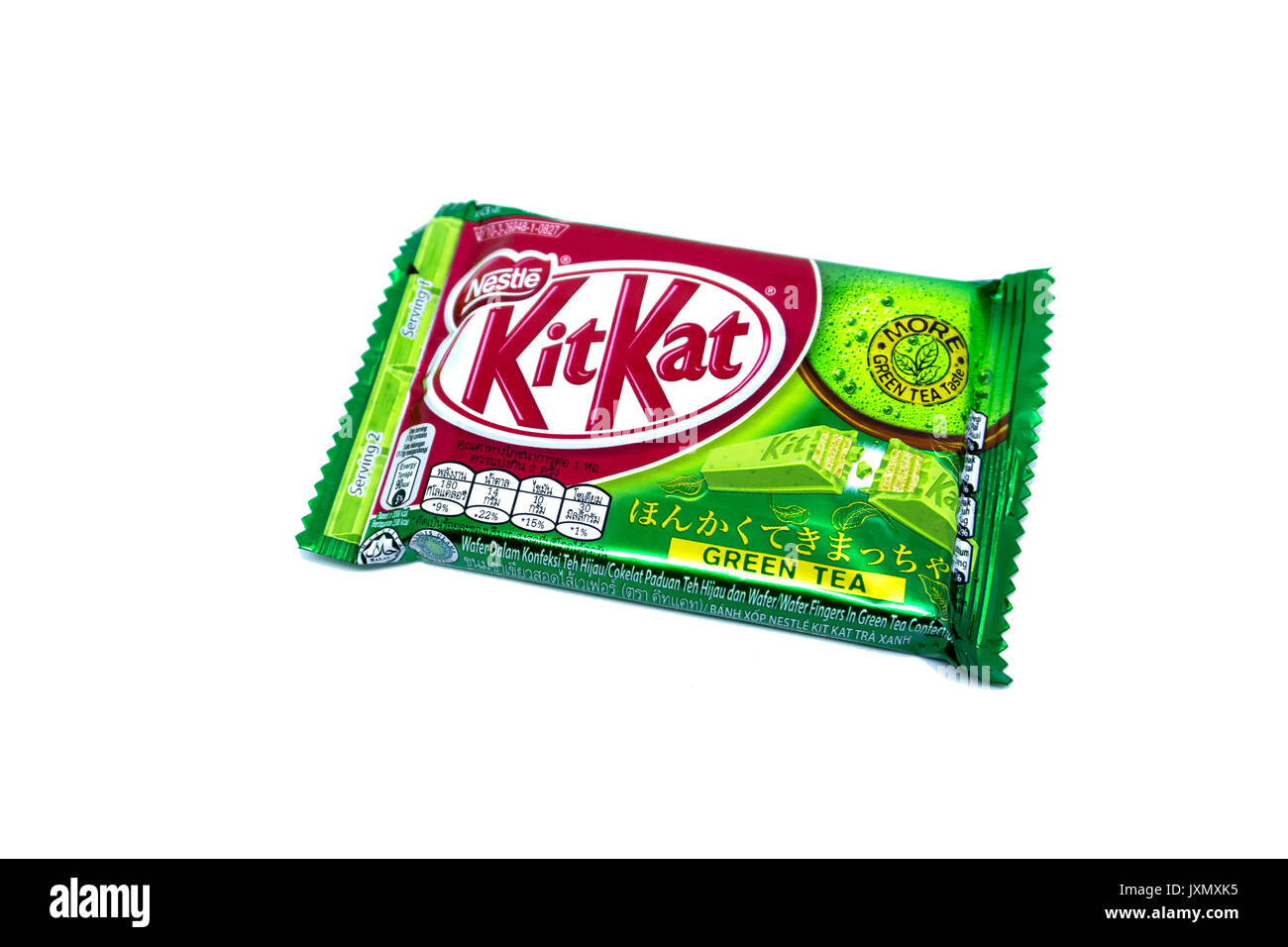 Kota Kinabalu, Malaysia - August 16, 2017: Kit Kat Green Tea flavored isolated on white background. Kit Kat bars are produced by Nestle. Brand Kit Kat - Stock Image