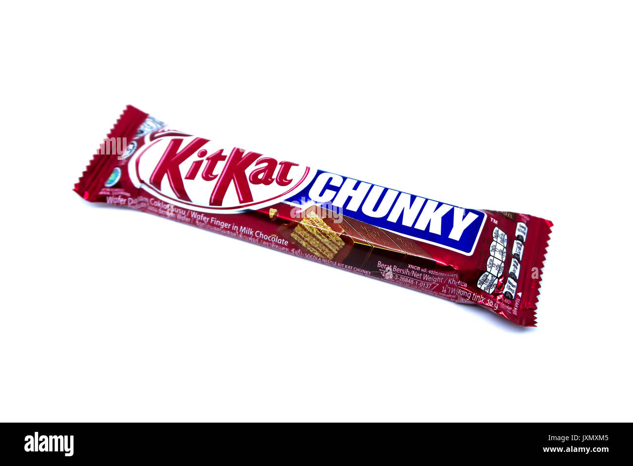 Kota Kinabalu, Malaysia - August 16, 2017: Kit Kat Chunky Wafer Finger in Milk Chocolate flavored isolated on white background. Kit Kat bars are produ - Stock Image
