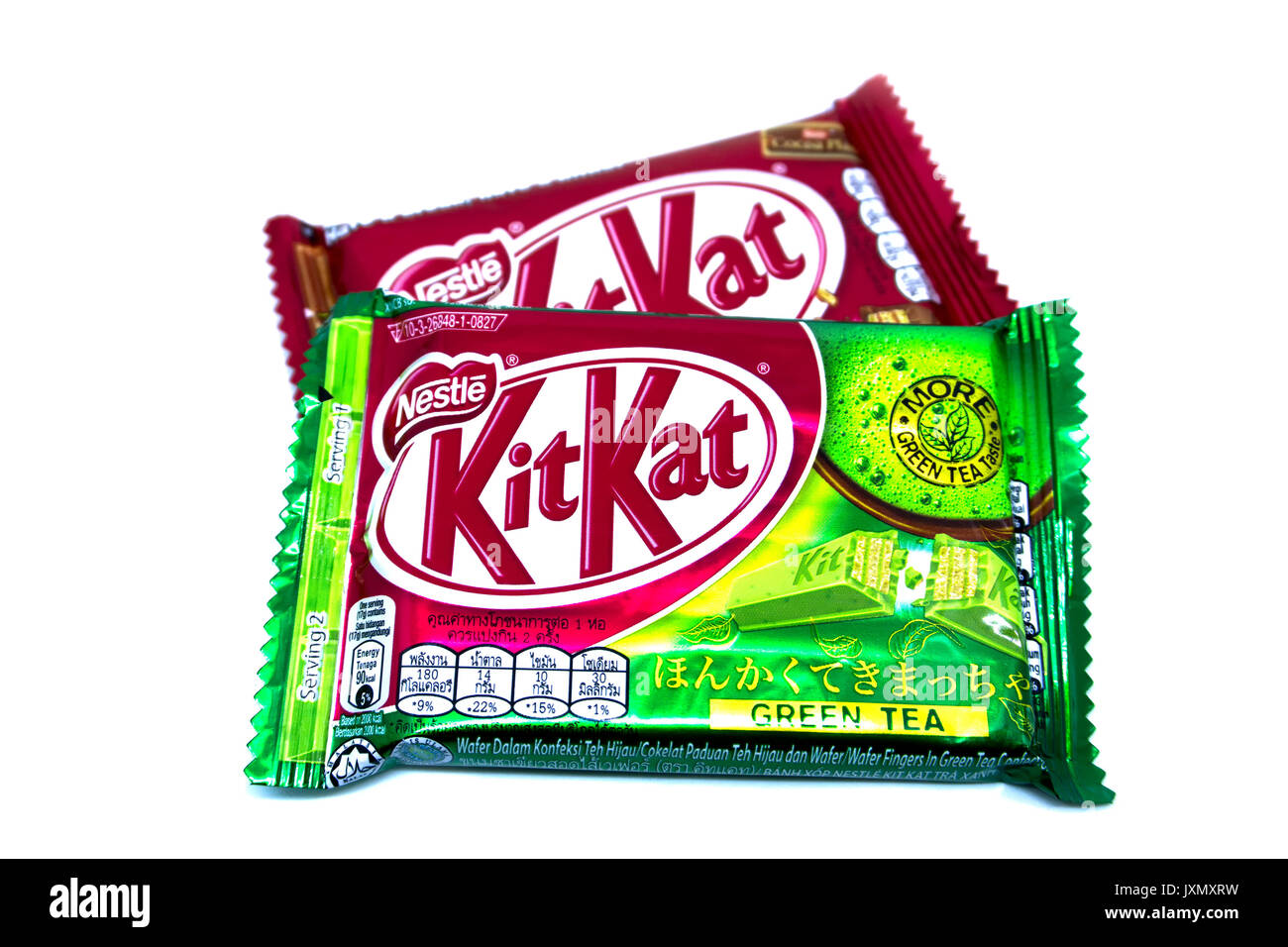 Kota Kinabalu, Malaysia - August 16, 2017: Kit Kat Chocolate Milk Wafer and Green Tea flavored  isolated on white background. Kit Kat bars are produce - Stock Image