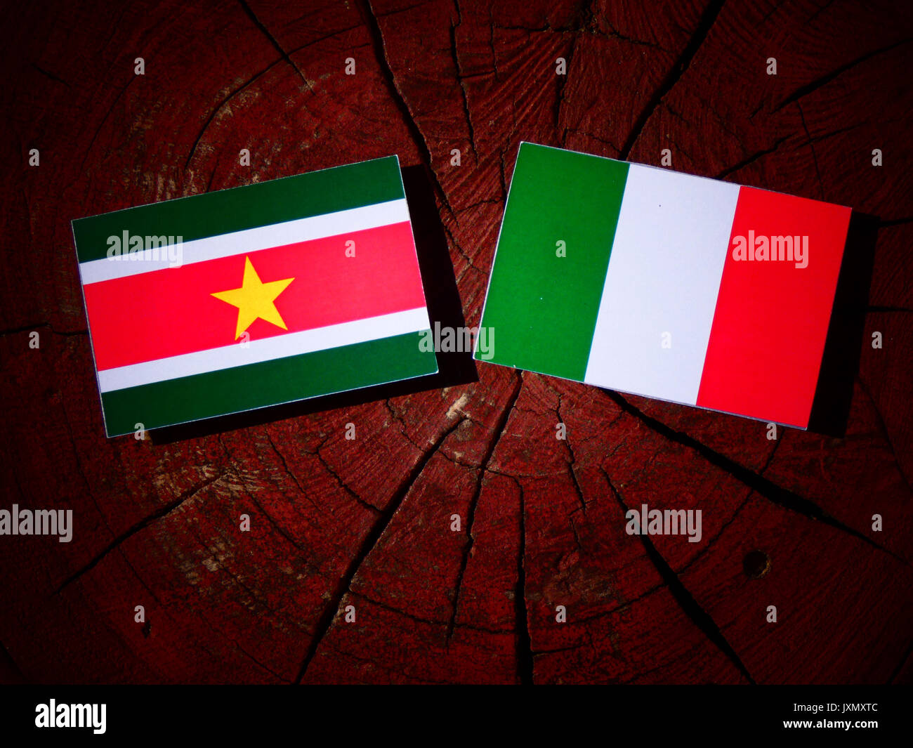 Suriname flag with Italian flag on a tree stump isolated - Stock Image