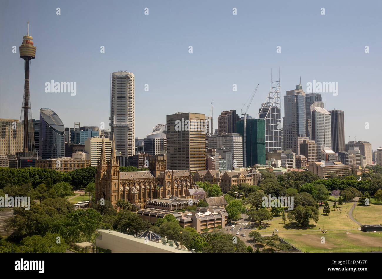 Downtown Central Business District Skyline Of Sydney New South Wales Australia, Includes The Domain, St Mary's Cathedral And The Sydney Tower Eye - Stock Image