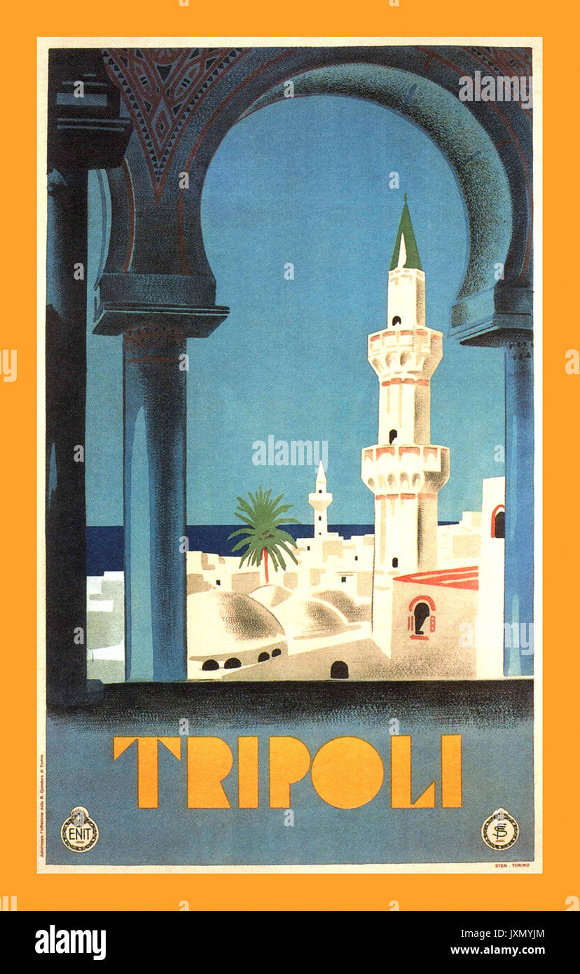 1930's Vintage Tripoli Travel Poster with mosque Minaret for call to Moslem faith prayer Libya. - Stock Image