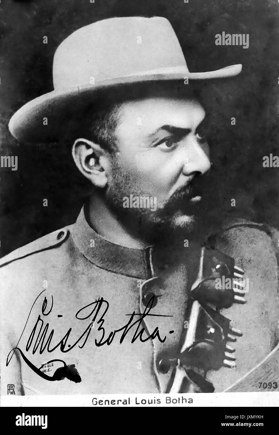 LOUIS BOTHA (1862-1919) South African Boer leader and politician on a postcard about 1900 - Stock Image